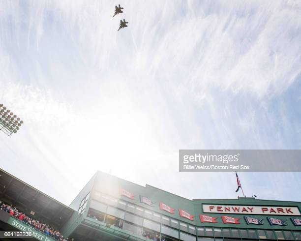 A flyover by the 104th Fighter Wing Barnes Air National Guard Base is held before the Boston Red Sox home opener against the Pittsburgh Pirates April...