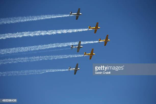 Flyover during the NASCAR Sprint Cup Series myAFibRiskcom 400 at Chicagoland Speedway on September 20 2015 in Joliet Illinois