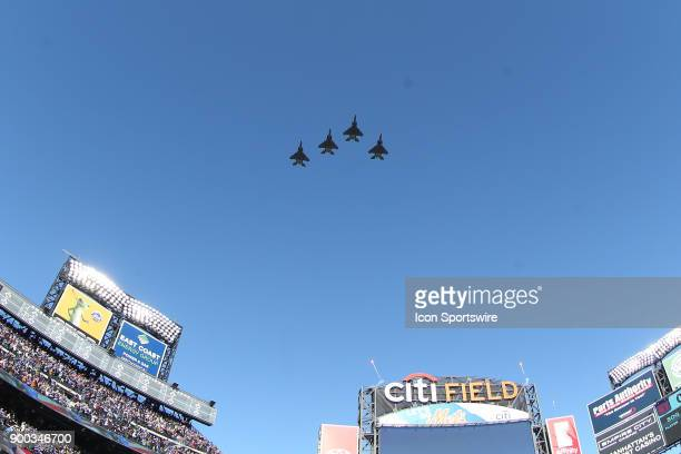 A flyover featuring four F15 aircrafts flown by the 334th Fighter Squadron from the Seymour Johnson Air Force Base in Goldsboro NC prior to the 2018...