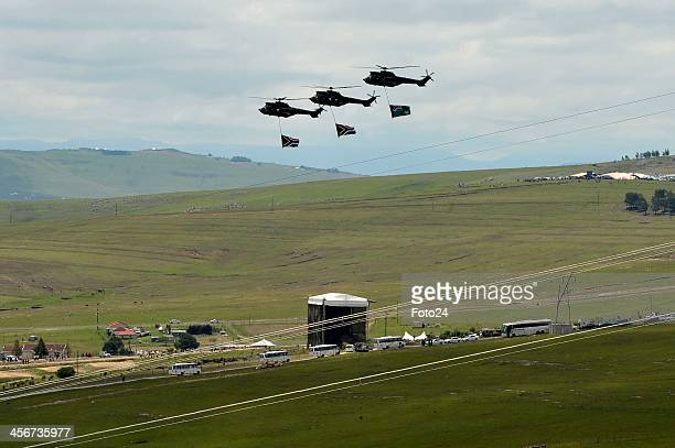 A flyover following Madiba's State Funeral from afar on December 15 2013 in Qunu South Africa Nelson Mandela passed away on the evening of December 5...