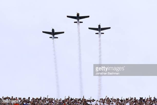 A flyover is performed before a game between the Mississippi State Bulldogs and the Florida Gators at Davis Wade Stadium on September 29 2018 in...