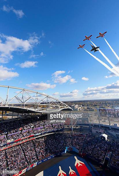 A flyover is performed during the national anthem before the start of the 2016 Tim Hortons NHL Heritage Classic between the Edmonton Oilers and the...