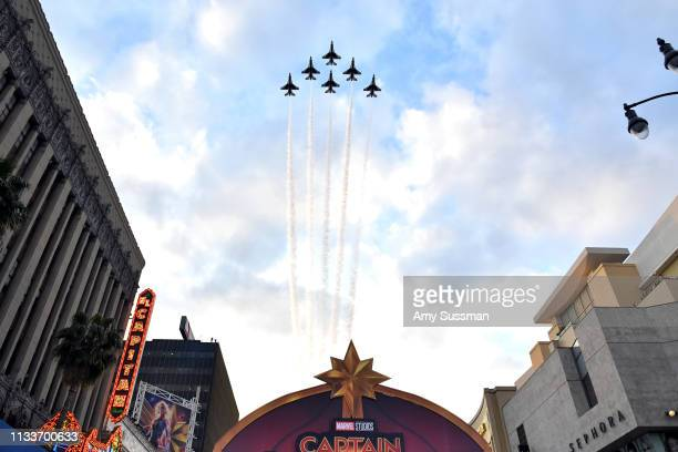 A flyover is seen at Marvel Studios Captain Marvel Premiere on March 04 2019 in Hollywood California