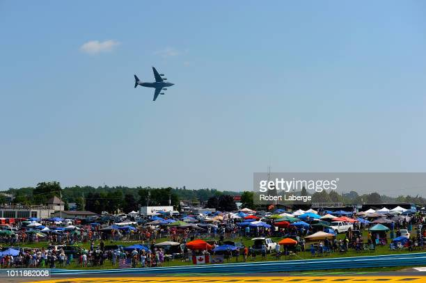 A flyover occurs prior to the start of the Monster Energy NASCAR Cup Series GoBowling at The Glen at Watkins Glen International on August 5 2018 in...