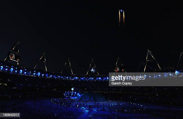 A flypast is seen during the Opening Ceremony of the London 2012 Paralympics at the Olympic Stadium on August 29 2012 in London England
