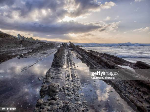 Flysch forations close to Zumaya at sunset during low tide