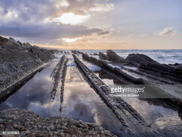 Flysch formations close to Zumaya at sunset during low tide