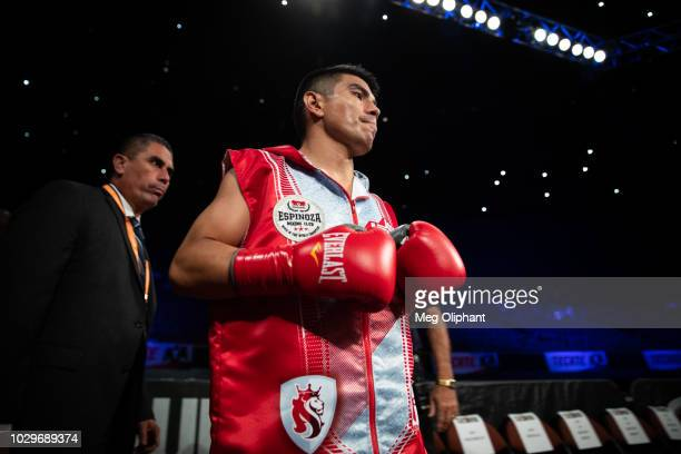 Flyweight boxer Joselito Velasquez of Oaxaca Mexico enters for his fight against Jose Alfredo Flores Chanez of Tijuana Mexico at The Forum on...