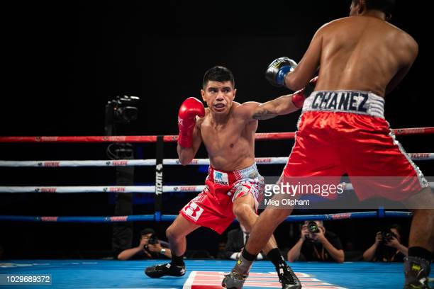 Flyweight boxer Joselito Velasquez of Oaxaca Mexico fights Jose Alfredo Flores Chanez of Tijuana Mexico at The Forum on September 8 2018 in Inglewood...