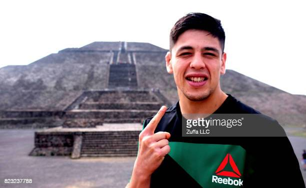 UFC flyweight Brandon Moreno interacts with the media for an onsale press tour on June 7 2017 in Mexico City Mexico