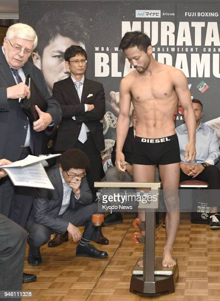 WBC flyweight champion Daigo Higa of Japan is weighed in Tokyo on April 14 the eve of his title defense against Cristofer Rosales of Nicaragua The...