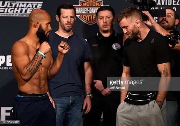 UFC flyweight champion Demetrious Johnson and Tim Elliott face off during the TUF Finale weighin in the Palms Resort Casino on December 2 2016 in Las...