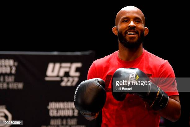 UFC flyweight champion Demetrious Johnson holds an open workout for fans and media at The Novo at LA Live on August 1 2018 in Los Angeles California