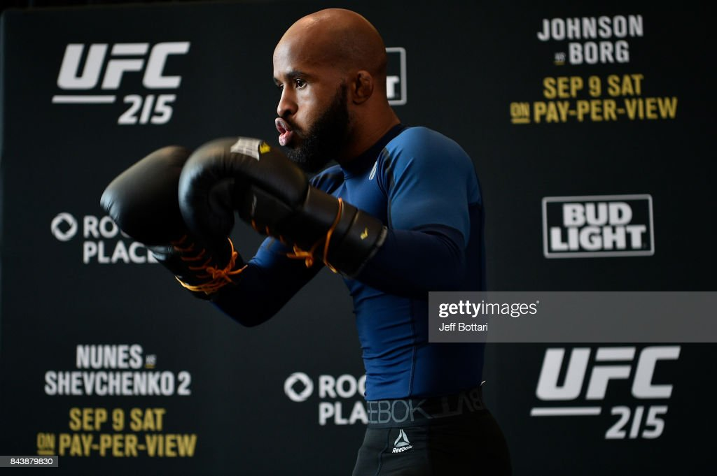 UFC flyweight champion Demetrious Johnson holds an open workout session for fans and media at Rogers Place on September 7, 2017 in Edmonton, Alberta, Canada.