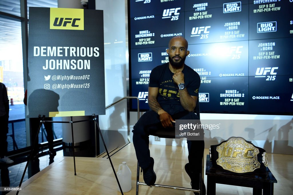 UFC flyweight champion Demetrious Johnson poses for a photo during the UFC 215 Ultimate Media Day at Rogers Place on September 6, 2017 in Edmonton, Alberta, Canada.