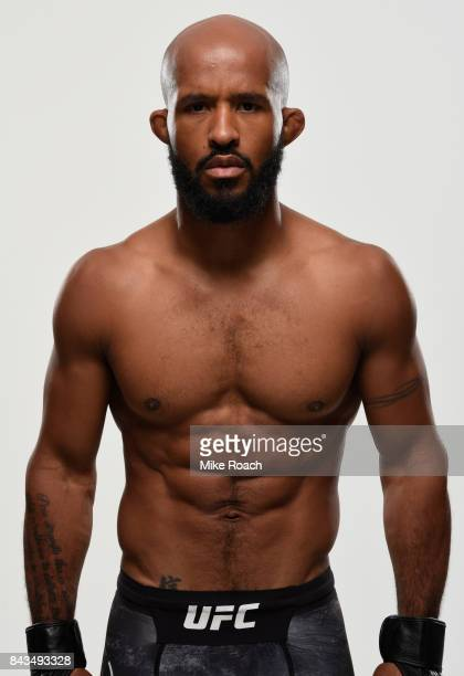 UFC flyweight champion Demetrious Johnson poses for a portrait during a UFC photo session on September 6 2017 in Edmonton Alberta Canada