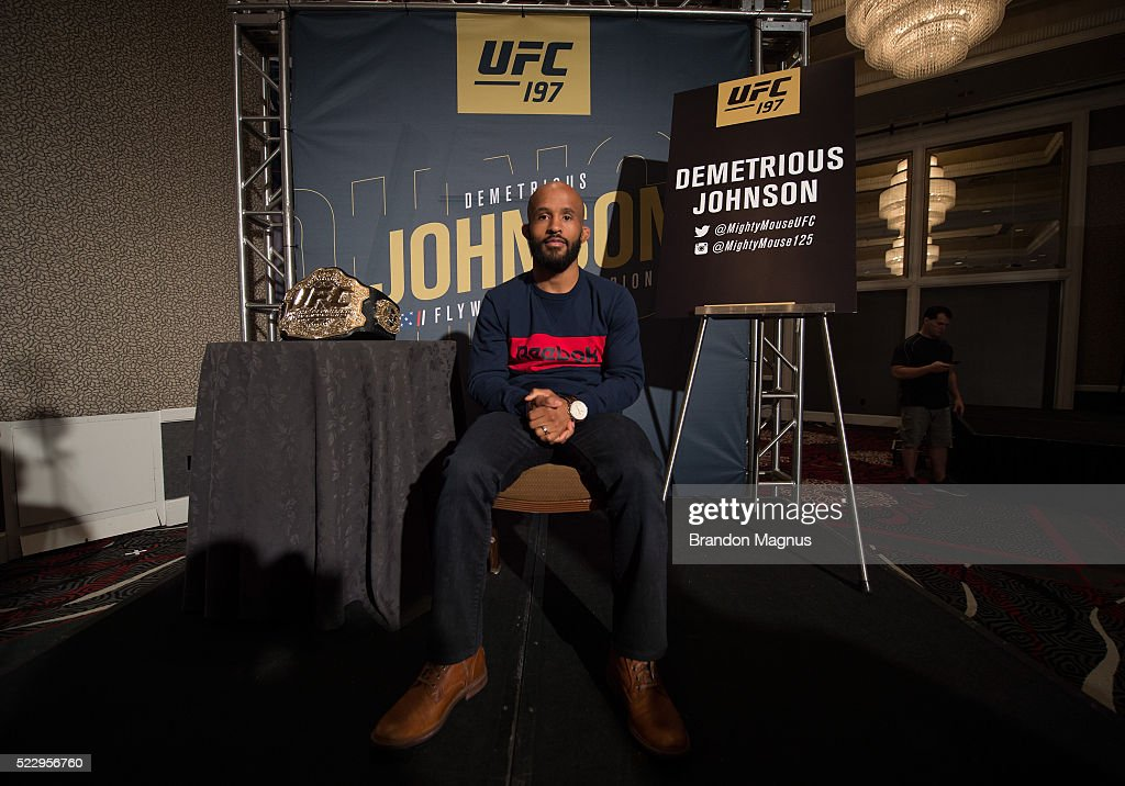 UFC flyweight champion Demetrious Johnson poses for a portrait during the UFC 197: Ultimate Media Day at MGM Grand Hotel & Casino on April 21, 2016 in Las Vegas Nevada.