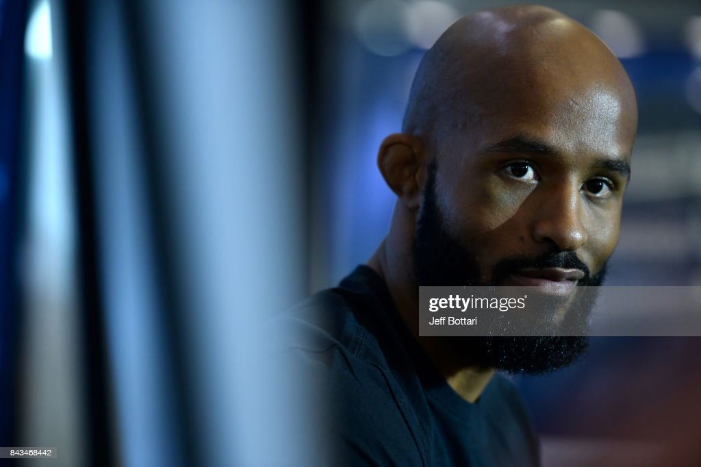 UFC flyweight champion Demetrious Johnson speaks to the media during the UFC 215 Ultimate Media Day at Rogers Place on September 6, 2017 in Edmonton, Alberta, Canada.