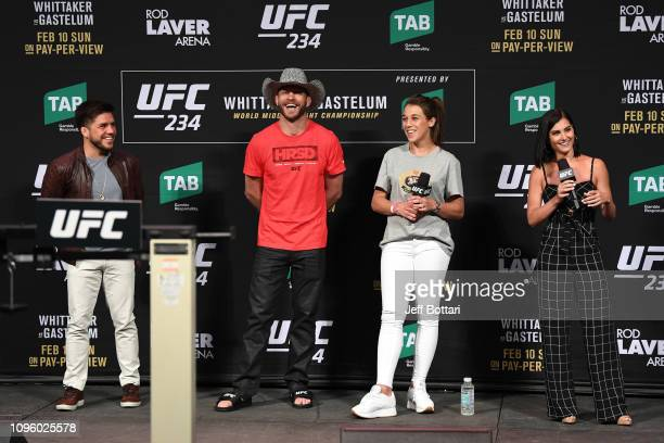 UFC Flyweight Champion Henry Cejudo Donald Cerrone Joanna Jedrzejczyk and Megan Olivi attend a QA after the UFC 234 weighin at Rod Laver Arena on...