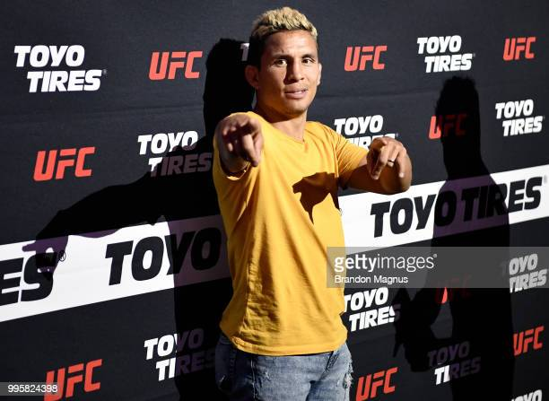 Flyweight fighter Joseph Benavidez interacts with fans during the UFC Fan Experience at the Downtown Las Vegas Events Center on July 7, 2018 in Las...