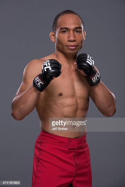 UFC flyweight John Dodson poses for a portrait during a UFC photo session inside the MGM Grand Garden Arena on May 20 2015 in Las Vegas Nevada
