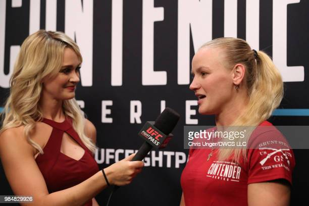 UFC flyweight Valentina Shevchenko is interviewed by Laura Sanko backstage prior to her sister's fight during Dana White's Tuesday Night Contender...