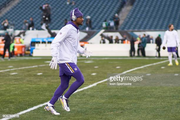 FMinnesota Vikings wide receiver Stefon Diggs warms up prior to the start of the NFC Championship Game between the Minnesota Vikings and the...