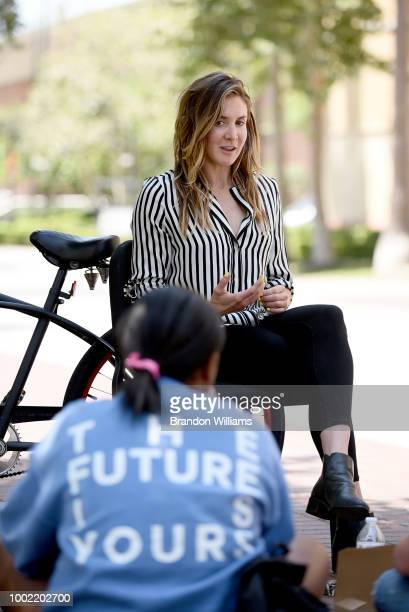 Fmr LA Chapter Governor Chrissy Stuart speaks with students at the GRAMMY Museums GRAMMY Camp Los Angeles Lunch and Learn held at USC Thornton School...