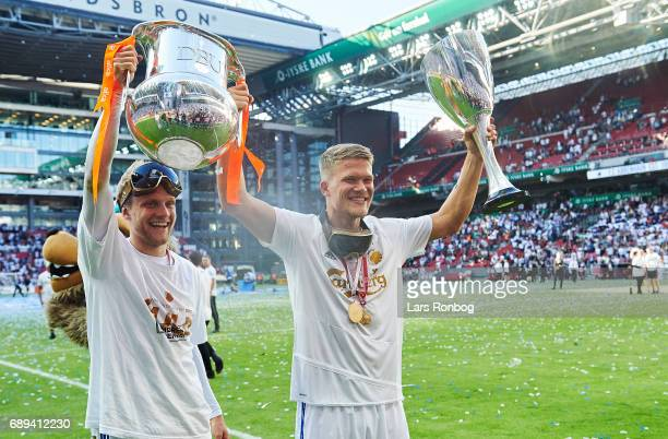 FNicolai Boilesen and Andreas Cornelius of FC Copenhagen celebrate with the trophy as Danish Champions 2016/2017 after the Danish Alka Superliga...