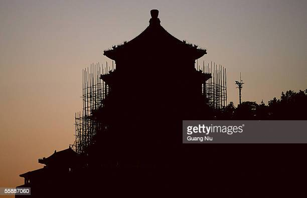 'Fo Xiangge' the main building of the Summer Palace is seen under renovation on October 8 2005 in Beijing China The Summer Palace first built in 1750...