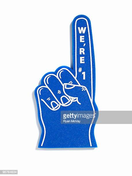 foam finger on white - foam finger stock photos and pictures