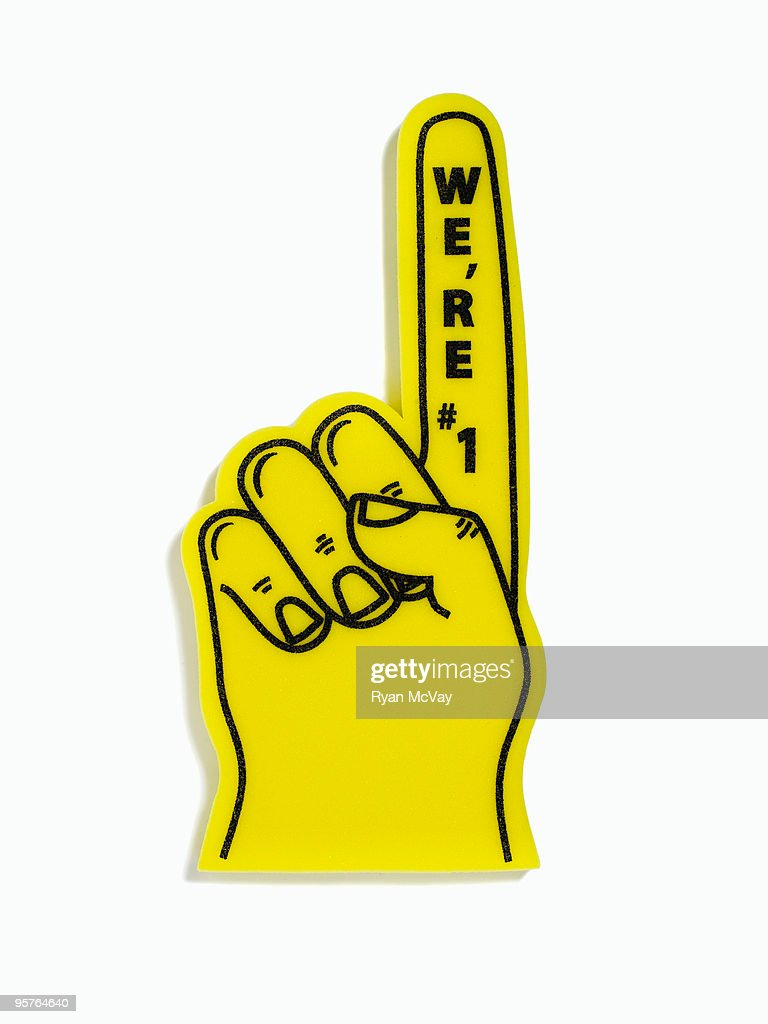 foam finger on white : Stock Photo