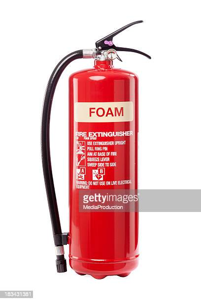 foam fire extinguisher - fire extinguisher stock photos and pictures