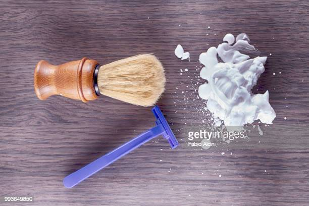foam, razor and brush - shaving brush stock photos and pictures