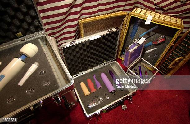 Foamfilled cases for carrying sex toys are on display at the fifth annual Erotica LA adult entertainment trade show July 14 2001 in Los Angeles CA...