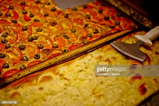 focaccia and pizza - bavosi stock photos and pictures