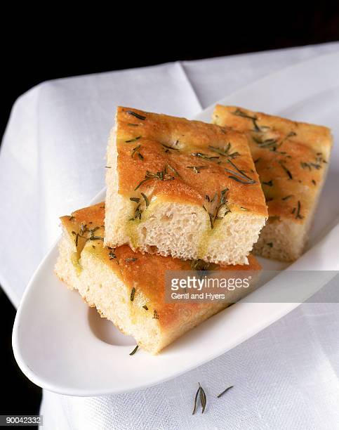 Focaccia bread on platter