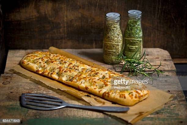 Focaccia with garlic, rosemary and thyme