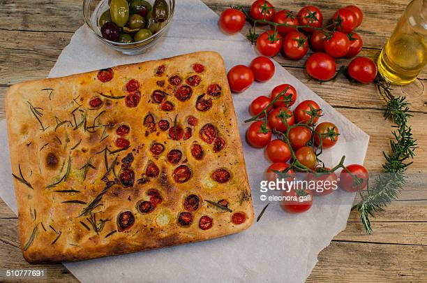 Focaccia with rosemary and tomatoes