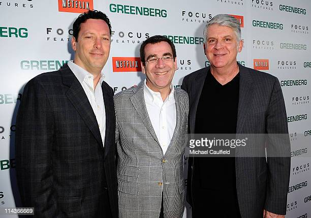 Focus Features' Andrew Karpen Jack Foley and John Lyons arrive at the Los Angeles Premiere of 'Greenberg' at ArcLight Cinemas on March 18 2010 in...