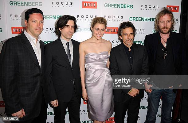 Focus Features' Andrew Karpen writer/director Noah Baumbach actors Greta Gerwig Ben Stiller and Rhys Ifans arrive at the premiere of 'Greenberg'...