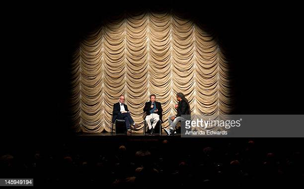 Focus Features CEO James Schamus director Ang Lee and Film Independent at LACMA curator Elvis Mitchell participate in a QA following the Film...