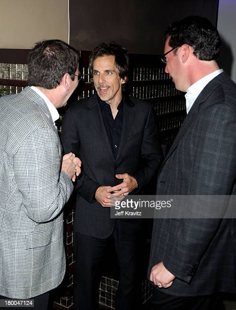 Focus Features' Jack Foley actor Ben Stiller and Focus Features' Andrew Karpen attend the after party for the premiere of Greenberg presented by...