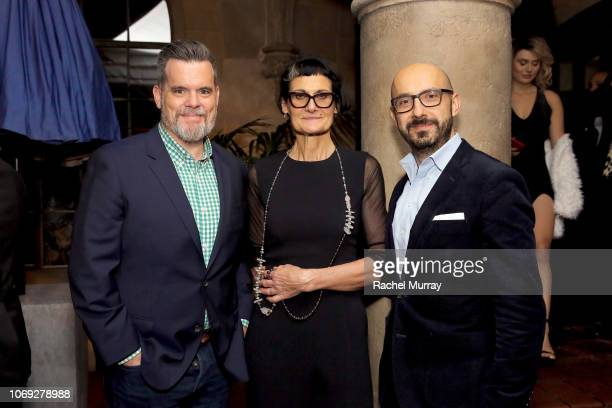 Focus Features president of production Josh McLaughlin costume designer Alexandra Byrne and Focus Features chairman Peter Kujawski celebrate the new...