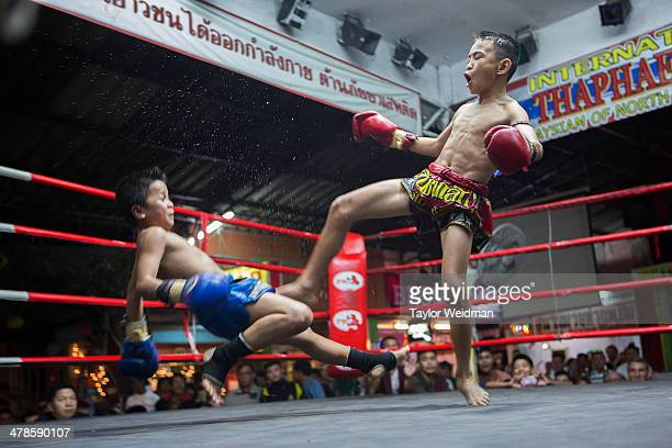Focus is knocked down by his opponent in the final round of their fight at the Thapae Muay Thai Stadium in Chiang Mai He lost the fight but he was...