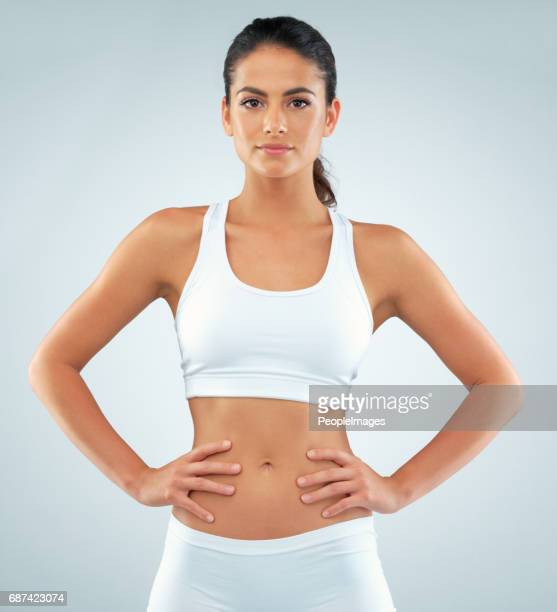 focus makes all the difference in staying fit - bra top stock pictures, royalty-free photos & images