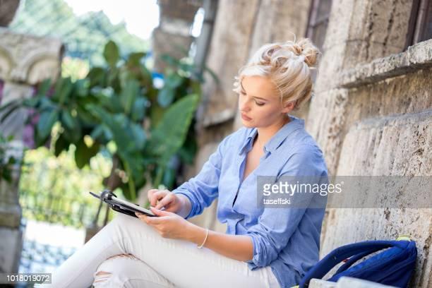 Focused on her work