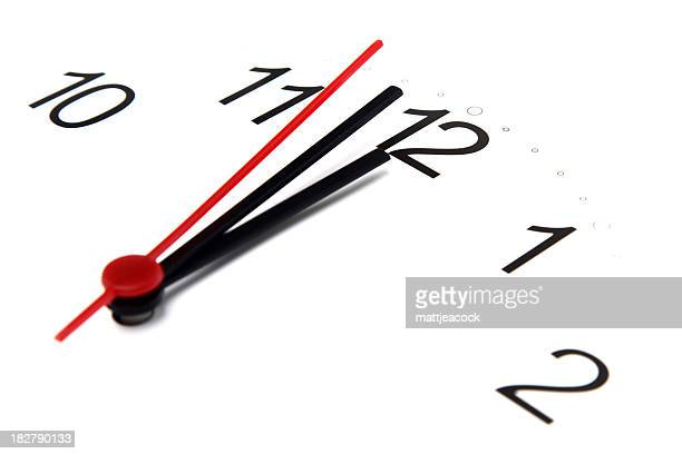 focused view of analog clock with all hands close to 12:00
