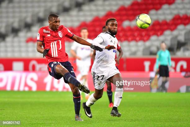 Fode Ballo Toure of Lille and Aboubacar Kamara of Amiens during the Ligue 1 match between Lille OSC and Amiens SC on April 1 2018 in Lille France