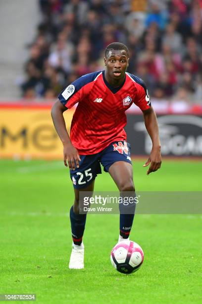 Fode Ballo Toure of Lille during the Ligue 1 match between Lille and Saint Etienne at Stade Pierre Mauroy on October 6 2018 in Lille France
